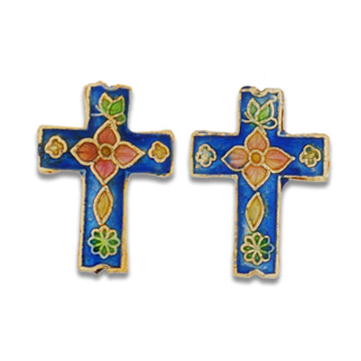 Cloisonne Cross Beads 18x22 mm