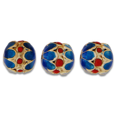 Cloisonne Double Flower Beads 12 mm - Click Image to Close