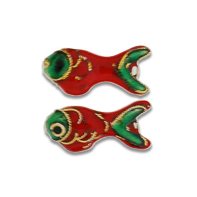 Cloisonne Fish Beads 8x12 mm