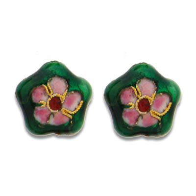 Cloisonne Flower Beads 15 mm - Click Image to Close