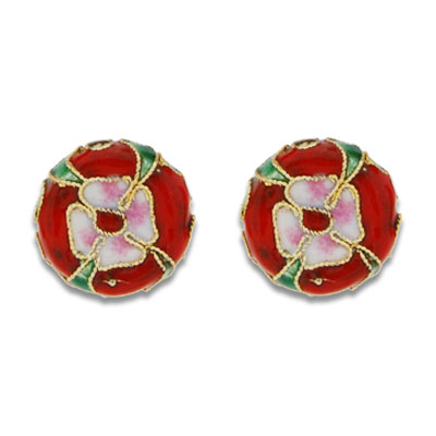 Cloisonne Flat Round Beads 15 mm - Click Image to Close