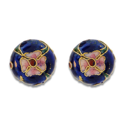 Cloisonne Flat Round Beads 15 mm