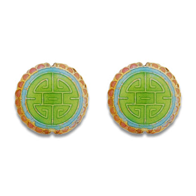 Cloisonne Flat Round Beads 18 mm