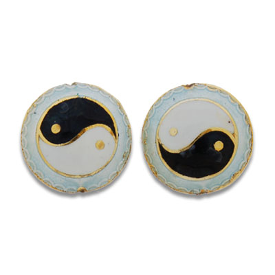 Cloisonne Flat Round Beads 19 mm