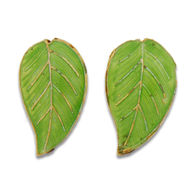Cloisonne Leaf Beads 26 mm