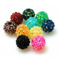 Bead,Round Resin Pave Beads,Silver Base,Assorted Color,Sold 100 Pcs Per Package