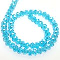 Bead,glass,AB plated crystal,aquamarine, 8x10mm faceted rondelle. Sold per 10 strands.