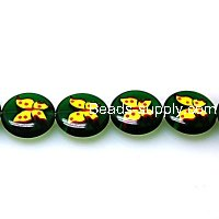 Bead, lampworked glass, yellow/green, 16mm double-sided flat round with butterfly design