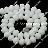 Bead,satin beads,4x6mm spacer beads, neon white facted roundelle beads