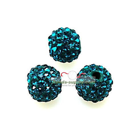 Beads,Pave Polyclay Round Beads 8mm , Blue Zircon - Click Image to Close
