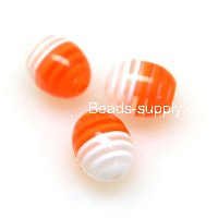 Beads, Resin Beads , Laminated/stripiness oval beads 10*12mm,white/orange