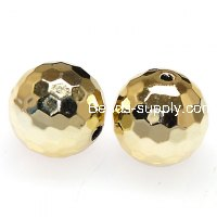 Beads,acrylic,UV plated 18mm faceted round UV coated plastic beads,golden plated perles,sold of 135 Pcs