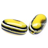 Beads,stripes damasks resin oval beads ,17x28mm ,yellow color