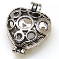 "Charm,antique""pewter""(zinc-based alloy), 30x41mm openable heart charm,sold per pkg of 50PCS"