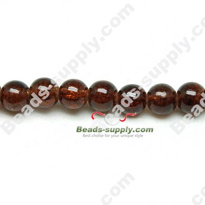 Cracked Round Bead 4mm,Coffee - Click Image to Close