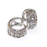 Earring,rhodium plated full crystal earring