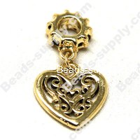 European Style Beads,18k Antique Gold,Filigree Heart