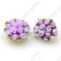 Fimo Flower Beads 10*17mm,Lt Purple