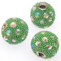 Indonesia Jewelry Beads, Drum shape,handmade with glass seed beads and rhinestone,Lt green color