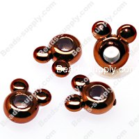 Large hole beads,mickey shape coffee plated,large hole beads