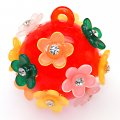 Pendants,red round shape pendant with multi color flower