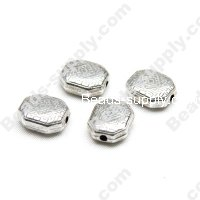 Antique Silver Plated Acrylic Rectangle Beads 9x11mm
