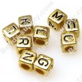 Bead,6x6mm Alphabet Beads ,golden with black letter,sold of 2600