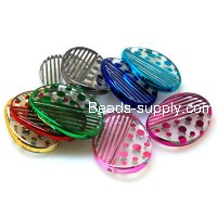 Bead,UV Plated Beads ,Striated surface,Flat Twist Oval Beads 35*25*4mm,Mixed Color