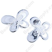Bead, dots UV engraved , silver color, 29x21x6mm butterfly beads. Sold per pkg of 100 PCS
