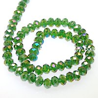 Bead,glass,AB plated crystal,D.K Green, 8x10mm faceted rondelle. Sold per 10 strands.