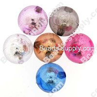 Bead, resin with silver-color foil, Assorted Color, 16mm round