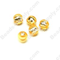 Bead,resin with silver-color foil, Peach, 6mm Round