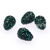 Beads,8x12mm pave teardrop beads,full crytal fimo beads,green