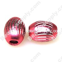 Beads,Loose beads,12*15mm Oval Aluminium Beads,Pink beads with carving, sold of 200pcs