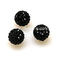 Beads,Pave Polyclay Round Beads 8mm , Jet