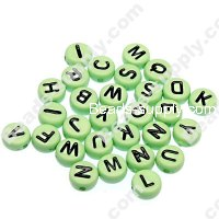 Beads,solid acrylic Alphabet Beads ,4x7mm ,green ,assorted letters