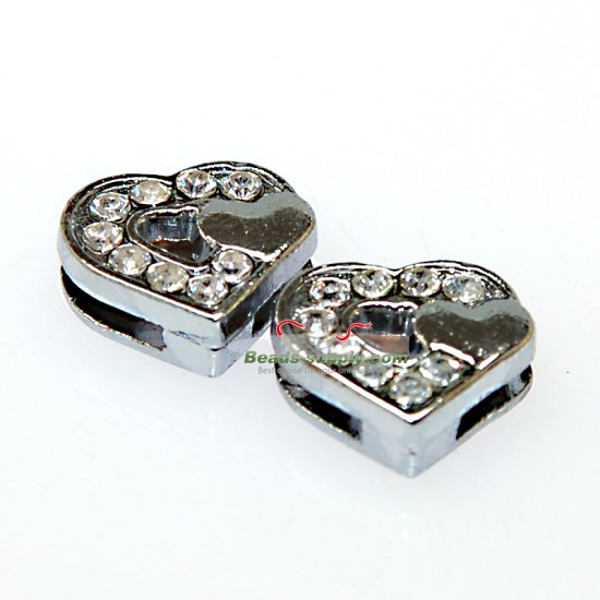 Charms,double heart slide charm,fits 8mm bracelet - Click Image to Close