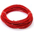 Cord,3mm red braided geniune leather cord