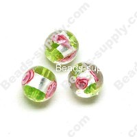 Foiled glass Round Beads ,Green