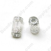 Gilding Silver Line Tube Beads 9mm*15mm ,Clear