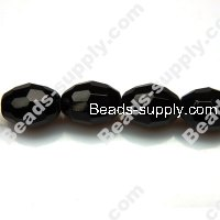 Glass Beads Faced Olive 10x13 mm A-grade