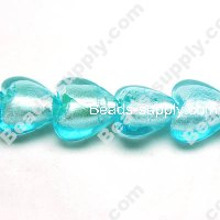 Glass Silver Foiled Heart Beads 20mm