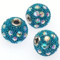 Indonesia Jewelry Beads, Drum shape,handmade with glass seed beads and rhinestone,Aquamarine color