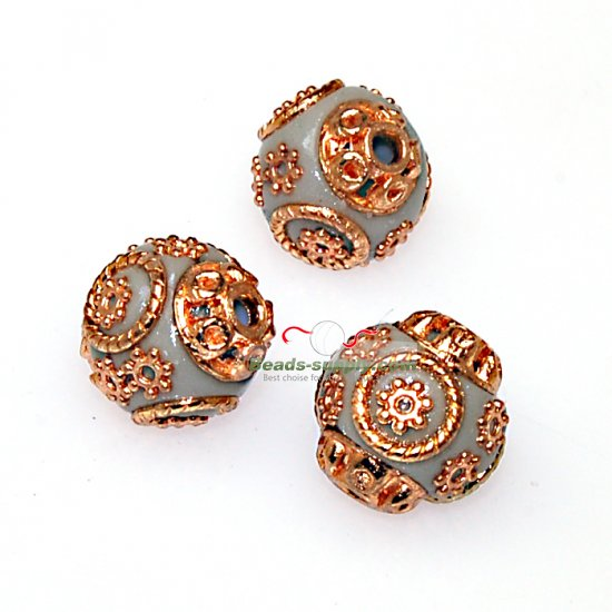 Indonesia Jewelry Beads, round shape,grey,handmade beads,sold of 10 pcs - Click Image to Close