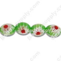 Millefiori Glass Single-Flower Olive Beads 8 mm