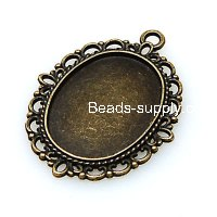 Pendants,29*39mm Oval Cameo Cabochon Base Setting Pendants£¬Antique Bronze Plated,Sold 100 Pcs Per Lot