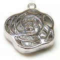 Pendants,Rhodium plated,brass rose pendant 6*20mm,sold of 20 pieces
