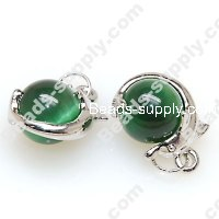 Pendants,dolphin with 12mm green round cat's eye pendant,sold of 10 pieces
