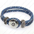 Trendy fashionable noosa braided genuine leather bracelets,blue color