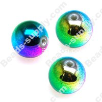 8 MM Acrylic Rainbow Round Beads , Brighten beads